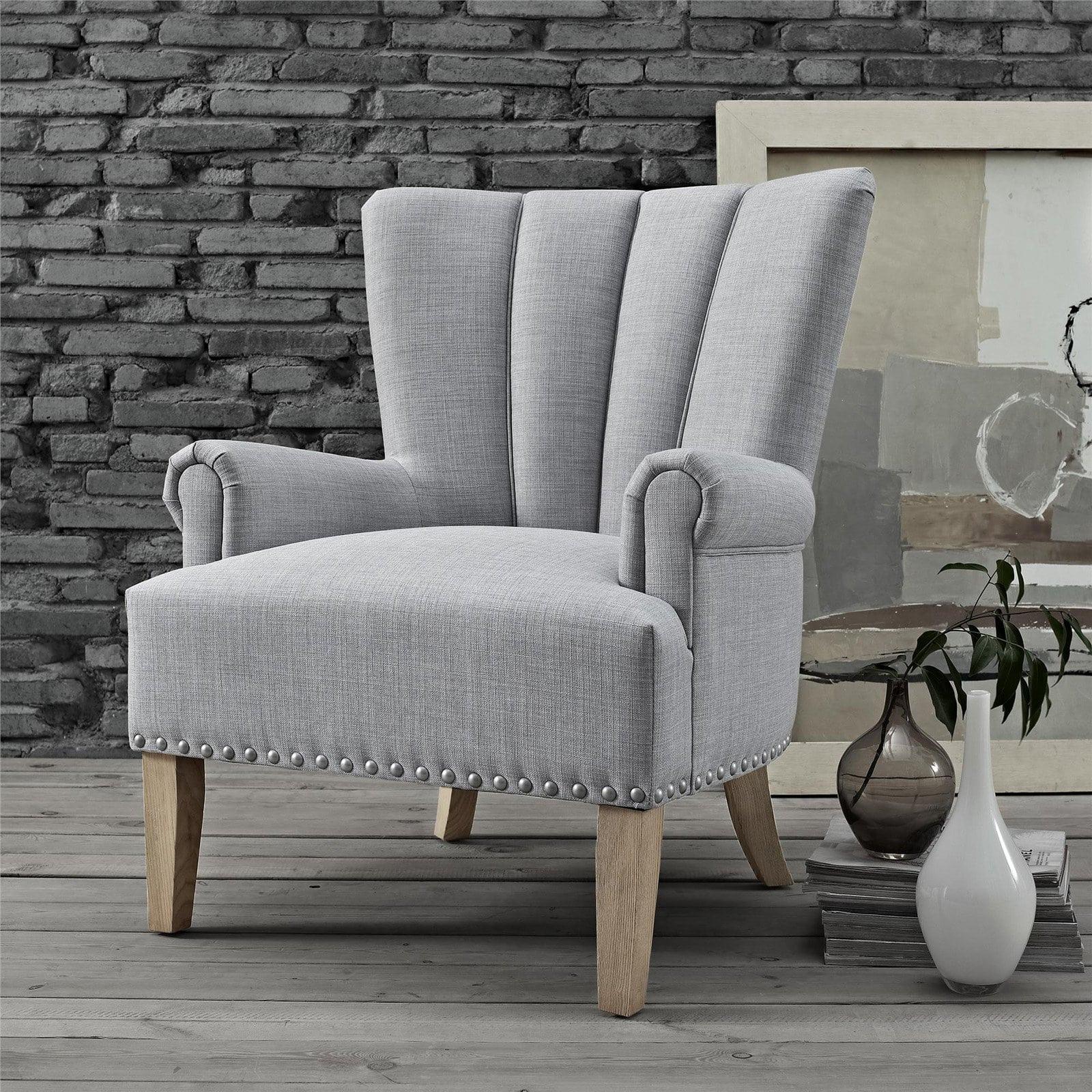 Sillon gris tapizado